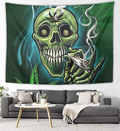 NiYoung Marijuana Weed Leaf Sugar Skull Wall Tapestry Hippie Art Tapestry Wall Hanging Home Decor Extra Large Tablecloth for Bedroom Living Room Dorm Room 50x60 Inches