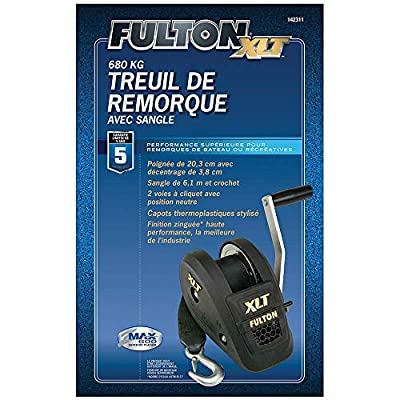 Fulton 142311 1400 Lbs. Single Speed Winch with 20' Strap and Cover-1400 lbs. Capacity: Automotive