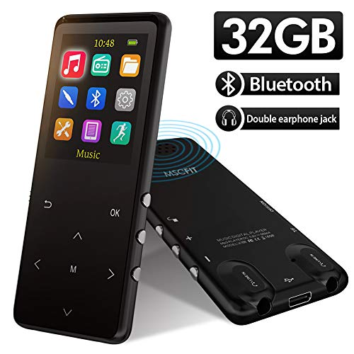 MP3 Player, 32GB MP3 Players with Bluetooth,Sports Armband, HiFi Music, Internal Speaker.FM Radio Recording Shuffle Play,Equalizer, Pedometer