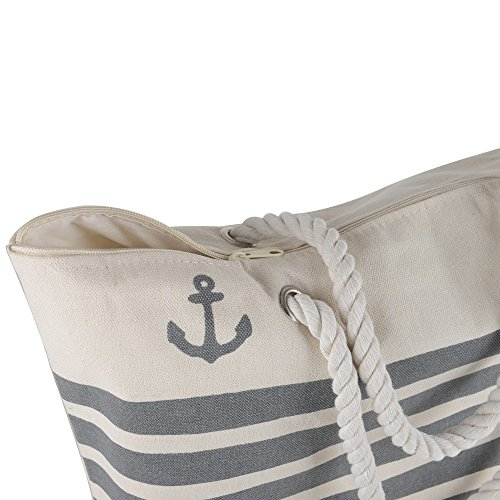 Canvas Heavy Cotton Rope Handles Stripe Zipper Closure Women Premium Straw Beach Tote Bag by BB (Grey) by BB (Image #3)