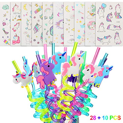 Chinco 28 Pieces Unicorn Party Plastic Straws Reusable Drinking Straws and 10 Sheets Unicorn Patterns Temporary Tattoos for Themed Party - Straw Sheet