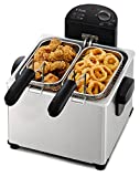 T-fal FR3900 Triple Basket Deep Fryer with Stainless Steel Removable Pot and Professional Heating Element, 4-Liter, 4.2 Qt, Stainless Steel