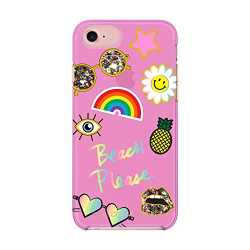 Rebecca Minkoff Double Up Case for iPhone 8 & iPhone 7 - Beach Icon Case Neon Pink/Multi Glitter/Gold Foil