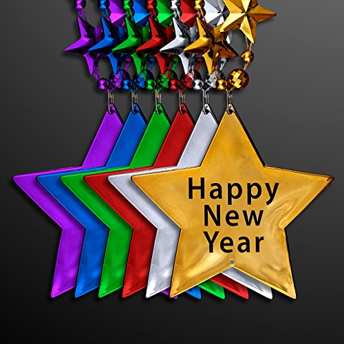 New Years Eve Party Star Shaped Bead Necklaces in Assorted Colors (Set of 12)