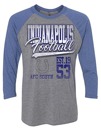 NFL Indianapolis Colts Men's Zubaz 3/4 Raglan Tee, Large, (Indianapolis Colts Tee)