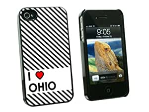 I Love Heart Ohio - Snap On Hard Protective Case for Apple iPhone 4 4S - Black