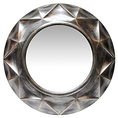 Infinity Instruments Vigil 20 Inch Antique Silver Decorate Wall Mirror - 20 Inch Total Diameter 11.75 Inch Diameter of Visible Mirror 2.25 Inches Deep - bathroom-mirrors, bathroom-accessories, bathroom - 51szyRn6DVL. SS400  -