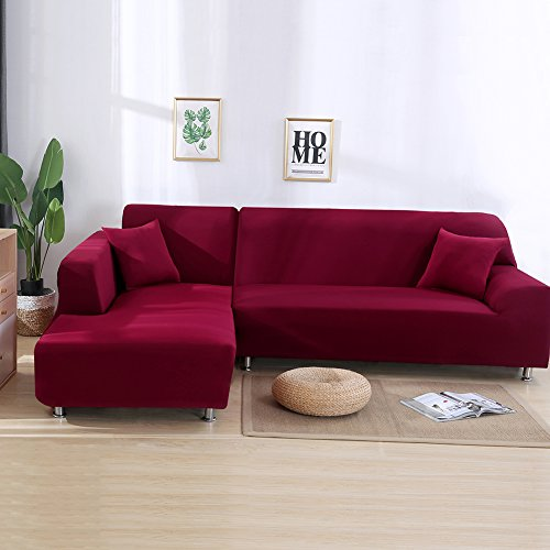 Beacon Pet Covers L Shape, Slipcovers + Pillow Covers for Sectional L-Shape Couch Wine-Coloured
