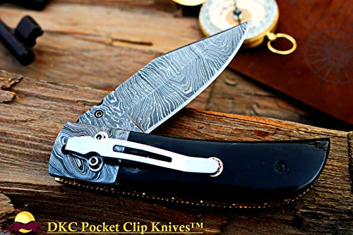 DKC Knives DKC-122-DS-PC Night Rider Damascus Steel with Pocket Clip 4.5' Folded 8