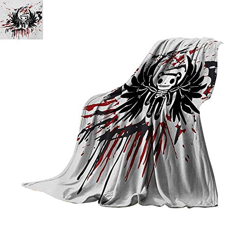 Halloween Weave Pattern Blanket Teddy Bones with Skull Face and Wings Dead Humor Funny Comic Terror Design Summer Quilt Comforter 90