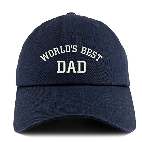 Trendy Apparel Shop World's Best Dad Embroidered Low Profile Soft Cotton Dad Hat Cap - Navy