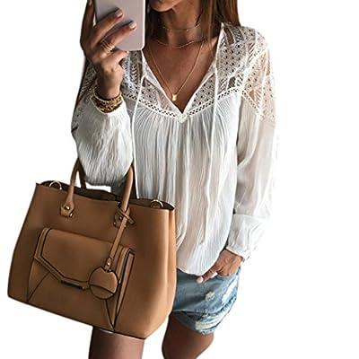 Kangma Women Long Sleeve V-Neck Chiffon Lace Crochet Shirt Tops Blouse White