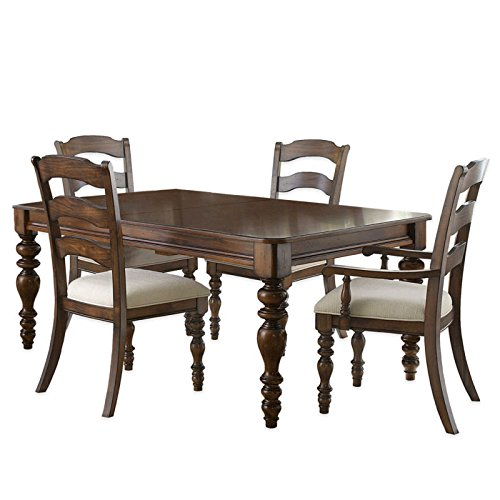 5-Piece Dining Set with Ladder Back Side Chairs in Dark Pine