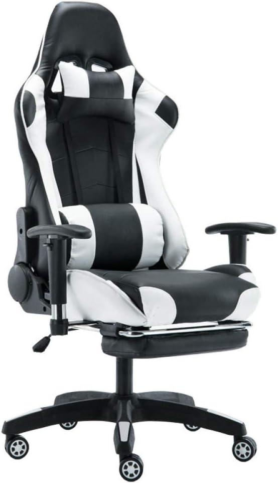 AUKLM Bürostühle Chefsessel, Ergonomie des E Sportwagenheims für Büro Gaming(Rot schwarz) Weiß Schwarz