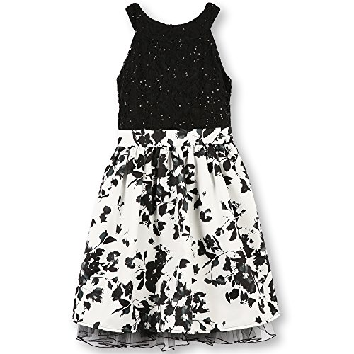 Speechless Big Girls' Lace Bodice Dress with Printed Skirt, White/Black Floral, 7