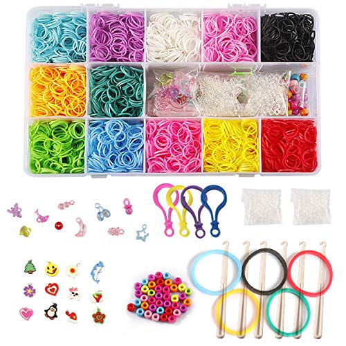STSTECH DIY Loom Refill Kit for Crafting Gadgets Friendship Bracelet -5500 Rubber Bands Set with 6 Hooks,100 S-Clips,12 Silicone Charms,45 beads (12 Rainbow Colors)]()