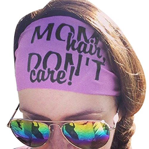 Tenworld Women Headband Elastic Hair Band Sweatband for Sports or Fashion, Yoga (Mom Hair Don't Care B)
