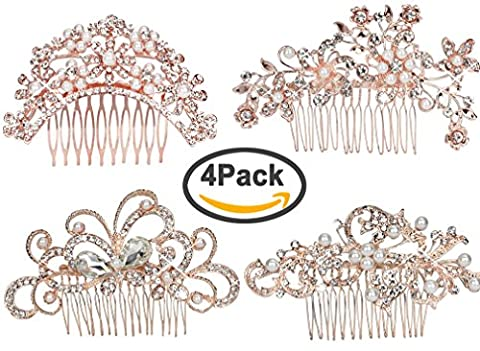 Pack of 4 Bridal Wedding Hair Comb Rose Gold Crystal Rhinestones Pearls Women Hair Side Combs Bridal Head Pin Headpiece (Rose (Hair Pin Gold)