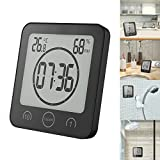 Houkiper Multifunction Digital Shower Clocks Waterproof Temperature Humidity Clock Timer with Alarm LCD Screen Touch Control for Bathroom Kitchen (Black)
