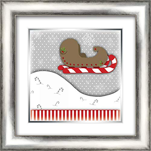 Candy Cane Sled 20x20 Silver Contemporary Wood Framed and Double Matted Art Print by Quach, Anna