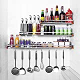 Linkfu Pot Rack Stainless Steel 304 Bathroom Shelf Wall Mounted Rack Nail-Free for Storage Condiment Bottles,Bowls,Cups,Cutlery,Toiletries (LxW: 31.5x6.7 in)