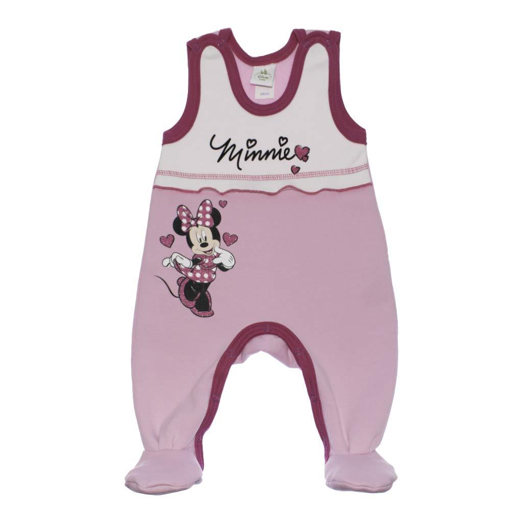 Disney Minnie Mouse Baby bequemer M/ädchen Strampler /ärmellos Spiel-Anzug Overall Outfit WARM mit F/üssen Gr 62 68 74 Baumwoll in Rosa oder Grau ideal f/ür Winter mit Fuss