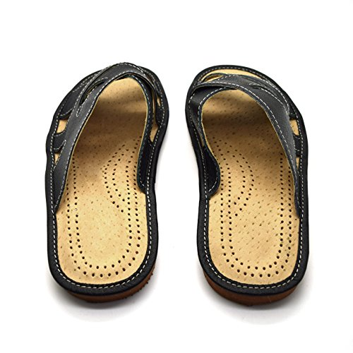 10 9 Mules Leather Sandals Shoes 12 Slip UK Mens 11 8 Black On Slippers Size 7 6 p6qzRv