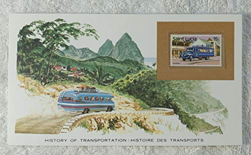 The Local Bus - Postage Stamp (Saint Lucia, 1983) & Art Panel - The History of Transportation - Franklin Mint (Limited Edition, 1986) - Small Brightly Colored Buses, Caribbean