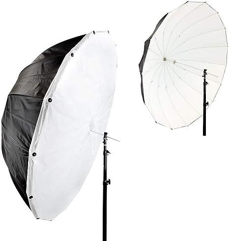 150cm Parab/ólica Negro//Blanco Paraguas con Extra/íble Difusi/ón Stock RU VAT Registrado