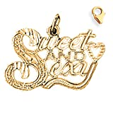 14K Yellow Gold 17mm Sweet and Sexy Saying Charm w/ Lobster Clasp