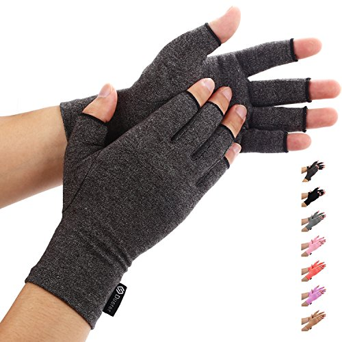 Duerer Arthritis Gloves Women Men for RSI, Carpal Tunnel, Rheumatiod, Tendonitis, Fingerless Hand Thumb Compression Gloves Small Medium Large XL for Pain Relief (Large, Black)