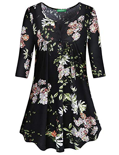 Kimmery Cute Flowy Tops for Women, Half Sleeve Loose Maternity Shirt for Work Stylish Henley V Neck Pintuck Designer Tunics Button Embellished Colorful Floral Patterned Blouse Black XX Large