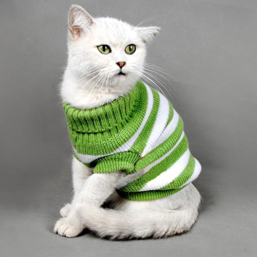 Evursua Striped Cat Sweaters Kitty Sweater for Cats Knitwear,Small Dogs Kitten Clothes Male and Female,High Stretch,Soft…