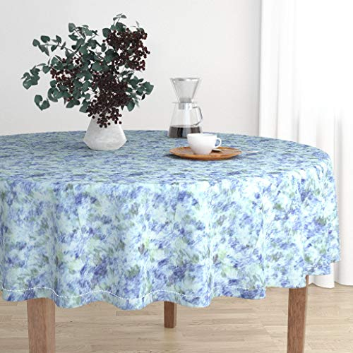 Roostery Round Tablecloth - Monet Impressionism Summertime Springtime Watercolours Fuzzy Blue Flowers by Winterblossom - Cotton Sateen Tablecloth 70in
