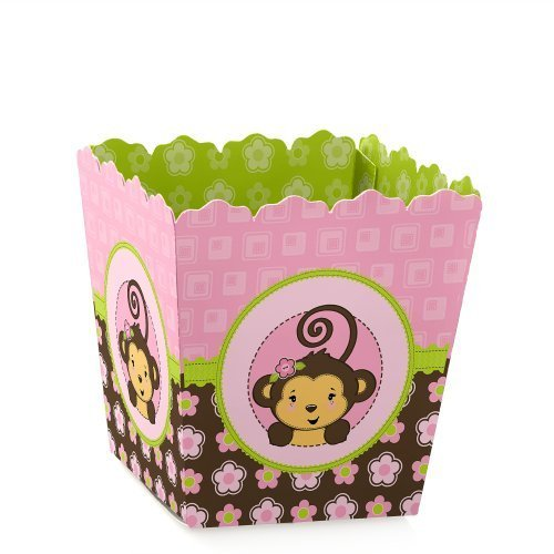 Pink Monkey Girl - Party Mini Favor Boxes - Baby Shower or Birthday Party Treat Candy Boxes - Set of 12 -