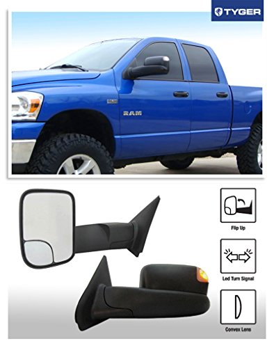 tyger 2002 2008 dodge ram 1500 2003 2009 ram 2500 3500 pickup truck oe style towing mirrors. Black Bedroom Furniture Sets. Home Design Ideas