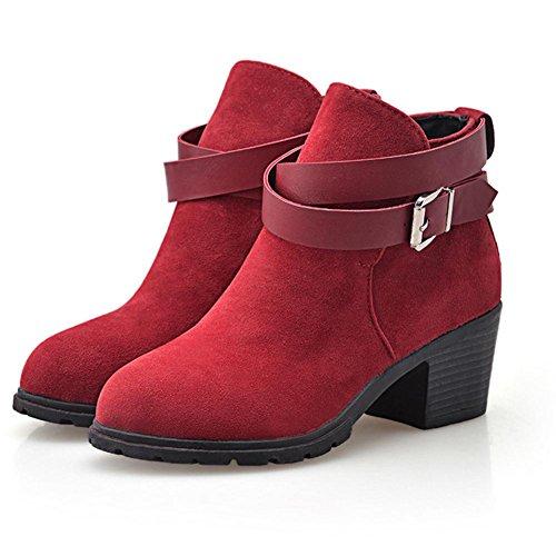 Nero 38 grosso Beige rosso stagioni tacco red gomma sfregamento fibbia donne in H antiscivolo HQuattro cintura nxBqZA