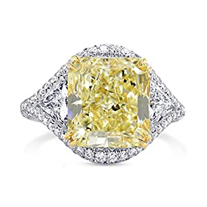 7.39Cts Yellow Diamond Engagement Extraordinary Ring Set in Platinum GIA Cert Size 6