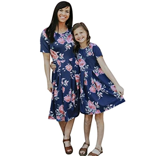 SUKEQ Mom & Me Family Matching Dress, Parent Child Short Sleeve Flower Dress Outfit O Neck Mini Dress (Large, Navy (Mom))