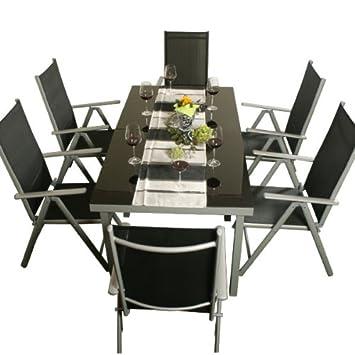 Aluminio Muebles de jardín conjunto de comedor 8 piezas: Amazon.es ...