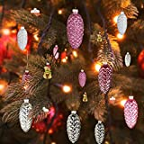 pink color scheme EssenceLiving Set of 12 Pine Cone Glass Ornaments for Christmas Tree Decor, Pink Glass Pine Cone Hanging Ornaments (Colour Scheme 2)