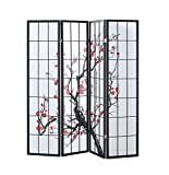Giantex 4 Panel Folding Privacy Screen Plum Blossom Room Divider Shoji Screen Living Room Bedroom Furniture