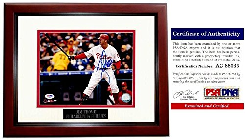 Jim Thome Autographed Philadelphia Phillies 8x10 Photo Mahogany Custom Frame - PSA/DNA Authentic
