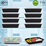 10 Microwavable Heavyweight Meal Prep Container (28 oz) with Lid – Reusable Food Storage Box - Recyclable Takeaway Delivery Vessel - Freezer, Dishwasher Safe - BPA-Free, Leak-Proof Airtight Clear Lid