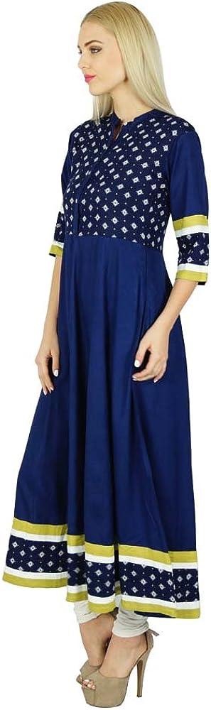Bimba Frauen blau Anarkali Rayon Kurta Indian ethnischen Bluse lang Flaired Kurti