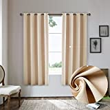 Nicasso Natural All Blackout Vertical Stripe Grommet Single Curtain Panel Thermal Insulated Solid Window Drapery(Beige,W52 x L95)