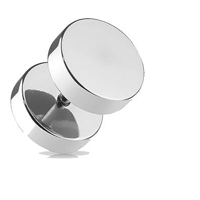 Falso Piercing Dilatador en acero plateado - diámetro 10 mm - cromado: Amazon.es: Joyería