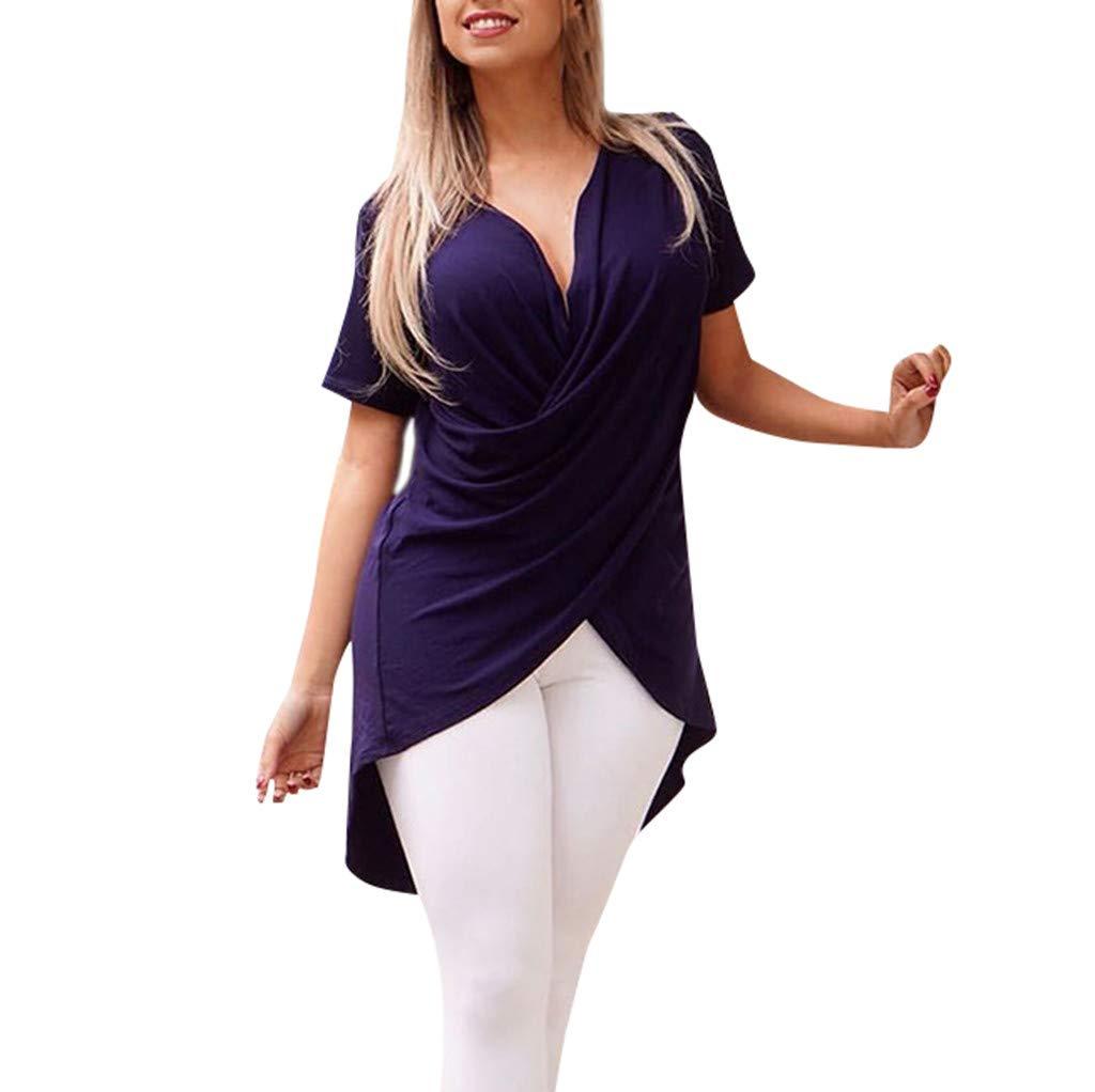 HULKAY Womens Elegant V Neck Chiffon T-shirt丨Loose Short Sleeve Solid Irregular Hem Tee Shirt丨Office Work Tops for Women(Purple,XL)