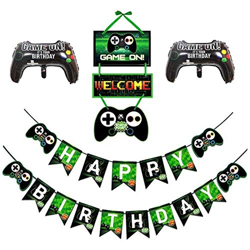 Chris.W Video Game Party Supplies Gaming Controller Mylar Balloons HAPPY BIRTHDAY Gaming Banner GAME ON Welcome Hanging Decor for Boy Game Theme Party Favors