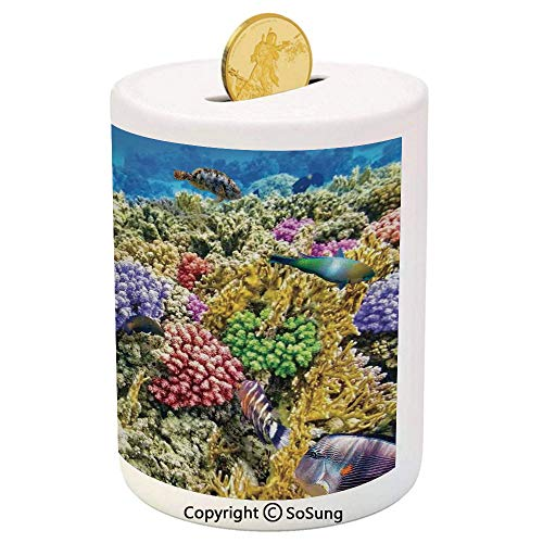 Ocean Ceramic Piggy Bank,Undersea Scenery Colorful Sponge Coral Reefs Tropical Fishes and Jellyfish Image 3D Printed Ceramic Coin Bank Money Box for Kids & Adults,Multicolor